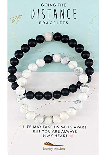 Lucky Feather Long Distance Couples Bracelets - A Reminder of Love and Strength During Time and Distance Apart (2 Piece Set) Couples Gifts