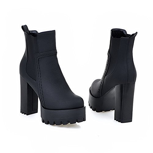 Toe Imitated Allhqfashion Elastic Closed Women's Boots Black Heels Round Solid High Suede 1wfBz