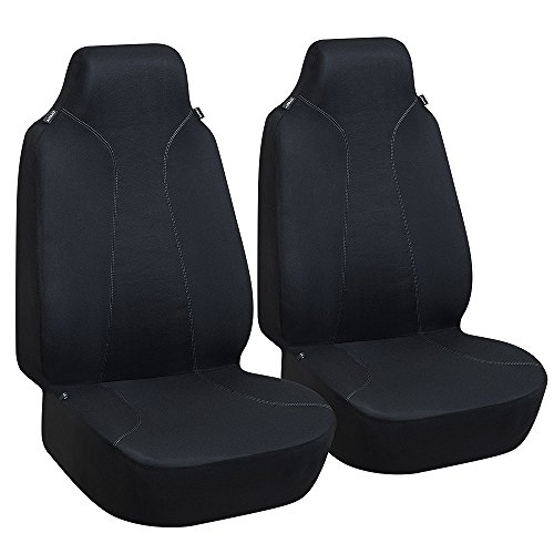 Elantrip Universal Cloth Bucket Seat Cover Set Airbag Compatible, High Back Front Seat Cover Set of Two Breathable for Car SUV Truck Van Jeep (Back Universal Seat Cover)