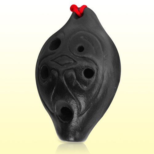 Mini Black Pottery 6 Hole Ceramic Ocarina - Any Order Can Get a Link Cosplay Green Hat for (Order Cosplay)