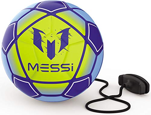 Leo Messi Soccer Ball | Solo Youth Soccer Football Kick Throw Trainer with Adjustable Control Cord | Skill Training for Soccer Practice & Drills, Size 3 (Blue/Yellow)