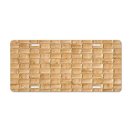 Beige,Illustration of Thic Woven Oak Wood Patterns Natural Simple Harvest Style Contemporary Deco,Brown Novelty Front License Plate Decorative Vanity Car Tag Can Also Be Used As A Door Sign