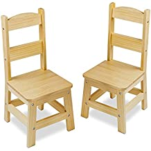 Melissa & Doug Solid Wood Chairs, Set of 2 - Light Finish Furniture for Playroom