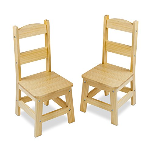 Hardwood Toddler Seat (Melissa & Doug Solid Wood Chairs, Set of 2 - Light Finish Furniture for Playroom)