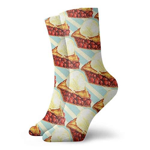 Womens Girls Funny Novelty Short Socks - Cherry Pie Polyester Crew Socks - Summer Casual Cozy Dress Decor Socks For Daliy Travel