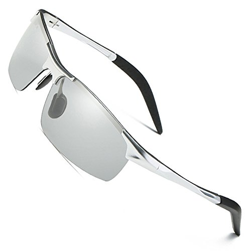 - MOTELAN Men's Photochromic Polarized UV400 Sunglasses for Outdoor Fishing Golf Beach Baseball Sports Silver