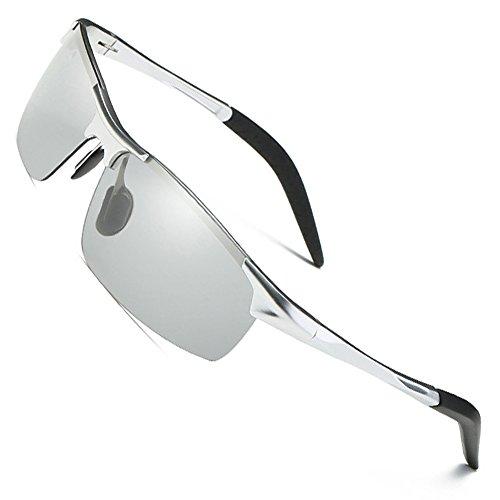 MOTELAN Men's Photochromic Polarized UV400 Sunglasses for Outdoor Fishing Golf Beach Baseball Sports Silver