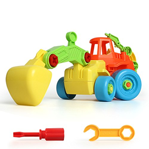 BigSmyo Baby Push and Go Friction Powered Car Toys for Children Boys Girls Kids Gift Excavator Truck Construction (Self-assembly to enrich the DIY hands-on ability of children) Incidental tools by BigSmyo