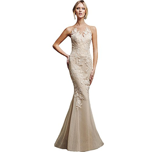 s Sleeveless Dress Evening Formal AK Long Women Mermaid Appliques Gown Sexy Beauty OwW4qS