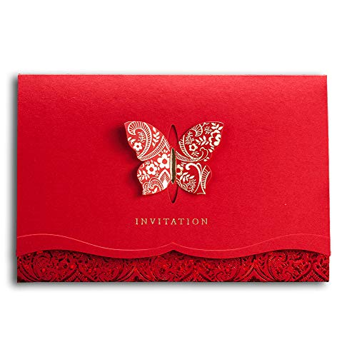 [Butterfly and Flowers] WISHMADE Classic Chinese Red Wedding Invitations Card, Elegant Butterfly Design Party Invites Kit with Printable Blank Insert and Red Envelops CW504 (1 Sample) (The Best Wedding Invitations Design)