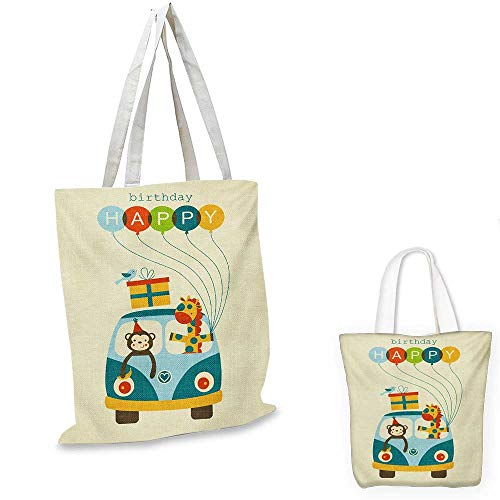 Kids Birthday canvas messenger bag Blue Hippie Bus with Monkeys Giraffes Balloons Surprise Box Artwork Print canvas beach bag Multicolor. 16
