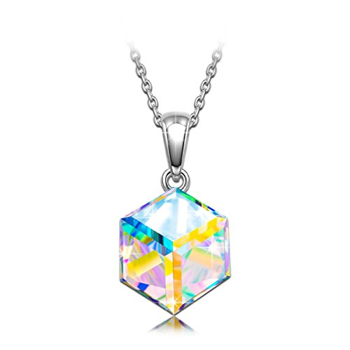 Gifts for Women NINASUN Kaleidoscope S925 Sterling Silver Pendant Necklace Swarovski Crystal Jewelry for Women Birthday Gifts for Her Daughter Anniversary Mothers Day Gifts for Wife Girlfriend Grandma (Silver Kaleidoscope)