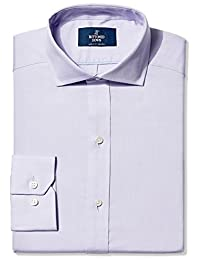 Buttoned Down mens Non-iron Fitted Pinpoint Cutaway Collar Dress Shirt