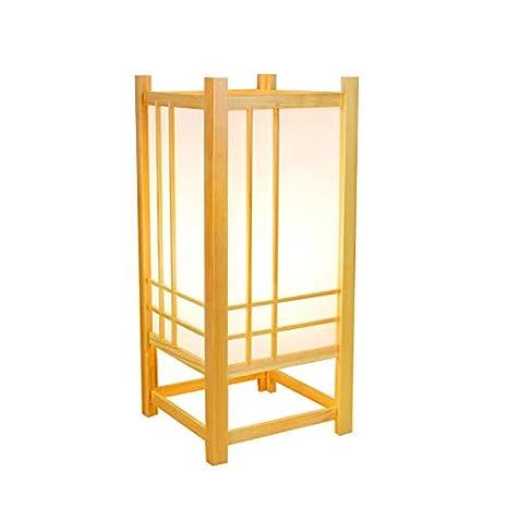 YU-K Lámpara de mesa decorativa de madera maciza de estilo ...