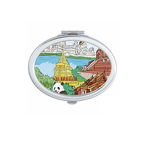 Kingdom of Thailand Thai Traditional Customs Culture Chiang Mai Panda Temple Art Illustration Oval Compact Makeup Pocket Mirror Portable Cute Small Hand Mirrors by DIYthinker