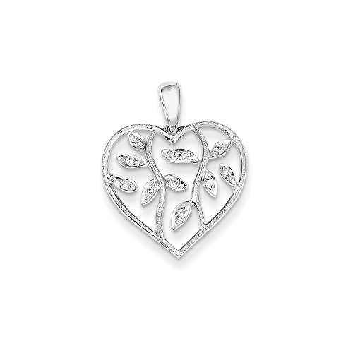 Roy Rose Jewelry 14K White Gold 0.08-Carat tw Diamond Heart w/ Leaves Vine Pendant (0.08 Ct Heart Tw)