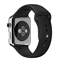 Apple Watch Band Pinhen Series 2 Soft Silicone Fitness Replacement Sport Band Wristbands Straps 3 Pieces of Bands Included for 2 Lengths for Apple Watch (42MM Black)