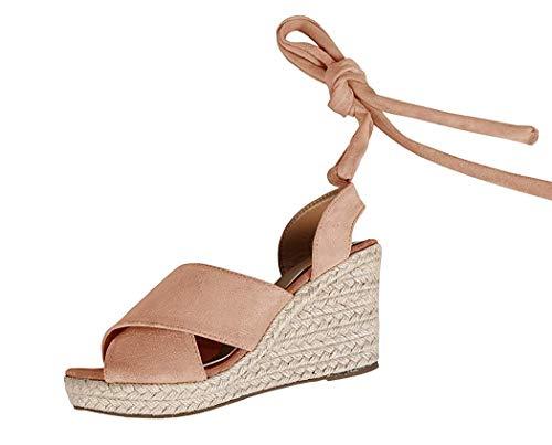 Runcati Womens Espadrille Wedge Peep Toe Sandals Tie Up Summer Ankle Platform Shoes Slingback Dress Sandal -