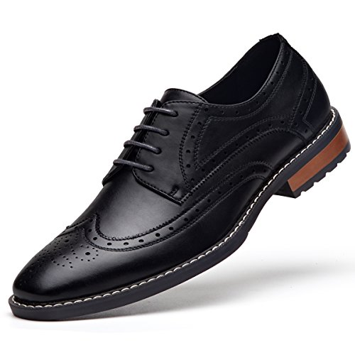 GM GOLAIMAN Men's Leather Oxford Dress Shoes Formal Wing-Tip Lace Up Derby Shoes Black 13 - Leather Sole Dress Shoes