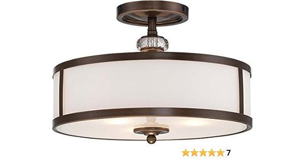 Minka Lavery Semi Flush Mount Ceiling Light 4942 570 Thorndale Round Glass Lighting Fixture 3 Light Bronze Ceiling Pendant Fixtures Amazon Com