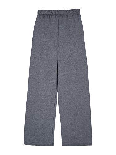 Fruit of the Loom Boys' Fleece Open Bottom Sweatpant, CHARCOAL HEATHER/TIMES SQUARE NAVY STRIPE, Medium