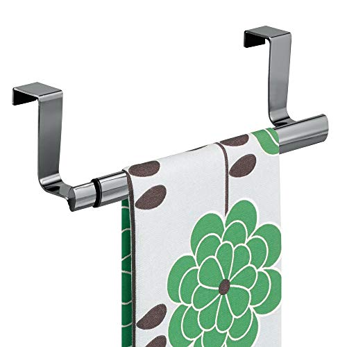 Oven Door Bar - mDesign Adjustable, Expandable Kitchen Over Cabinet Strong Steel Towel Bar - Hang on Inside or Outside of Doors, Storage for Hand, Dish, and Tea Towels - 9.25