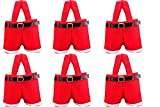 HOSL 6 Pack Christmas Presents Basket Christmas Candy Bags Christmas Gift Bags Portable Santa Apple Gift Bag Wedding Candy Tote Bag Christmas Santa Pants Gift Romper Wine Bag Box For Party Home Decor
