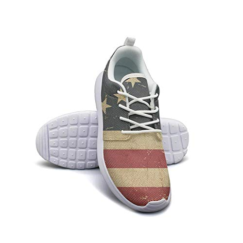 Anigarey Fashion Lightweight Breathable Grunge Aged American Betsy Ross Flag Running Shoes, Mesh-Comfortable Sneakers
