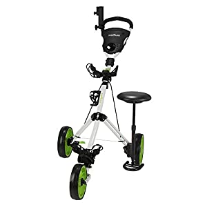 Caddymatic Golf X-TREME 3 Wheel Push/Pull Golf Cart with Seat White/Green