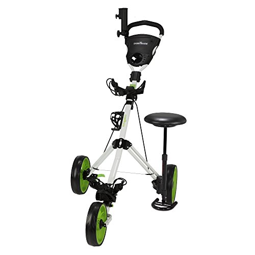 Caddymatic Golf X-TREME 3 Wheel Push/Pull Golf Cart with Seat White/Green by Caddymatic (Image #1)