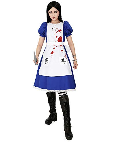Alice Madness Returns Halloween Costume (Miccostumes Women's Alice Liddell Cosplay Costume Halloween Dress with Apron Skull Pendant, Blue,)