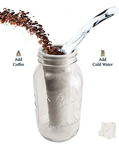 Taka Co Permanent Coffee Filter Premium Stainless Steel Mason Jar Cold Brew Coffee Maker and Iced Tea Infuser Loose Leaf Tea Mesh Filter Strainer