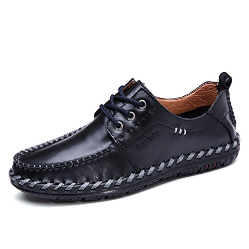Fashion Driving Shoes Slip Casual Leather Boat On Men Loafers Black01 For qp74HxT