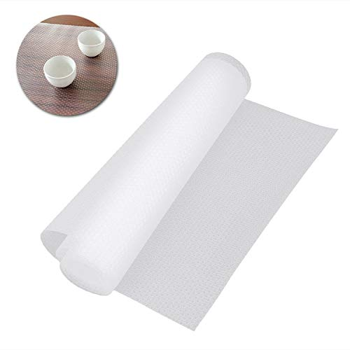 Roll Shelf Liner, Kitchen Refrigerator Drawer Cabinet EVA Mat Liner, Can Be Cut DIY Multifunctional Table Pad Easy to Clean Non Slip Waterproof Washable, Transparent 59.1