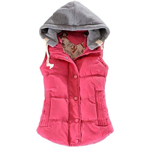 精査する受け取る空白Inlefen 冬 コットン ノースリーブ ベスト 女性の ボタン 短いパラグラフ 暖かく保つ コート パーカー
