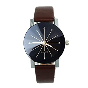 Women Quartz Dial Clock Leather,Ninasill Wrist Watch Round Case(Coffee)