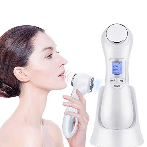 JASMZ EMS Face Massager/RF Radio Frequency Facial Machine 5 Colors Light Radio Frequency Skin Tightening Device Deep Cleanse Vibration Beauty Tools/for Anti-Aging Face Lifting Tighten Wrinkle Removal