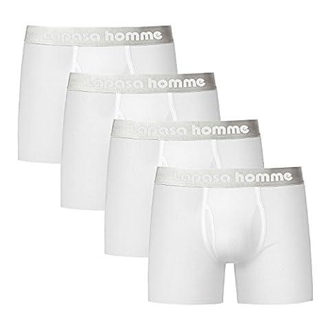 Lapasa Men's 4-Pack ELS Combed Cotton Pouch Trunks Fly-Front Boxer