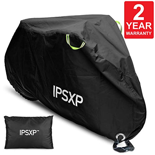 IPSXP Bike Cover, 210D Bicycle Cover with Lock Hole Storage Bag for 29er Mountain Road Electric Bike Motorcycle Cruiser Outdoor Storage, Waterproof, Anti-UV, Ripstop Material (82L x 44H x 30W ()