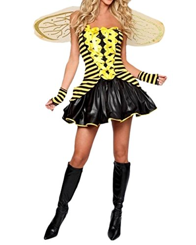 [Prettycostume Women's Cute Sexy Honey Bumble Bee Halloween Costume Party Outfit] (Cute Honey Bee Costumes)