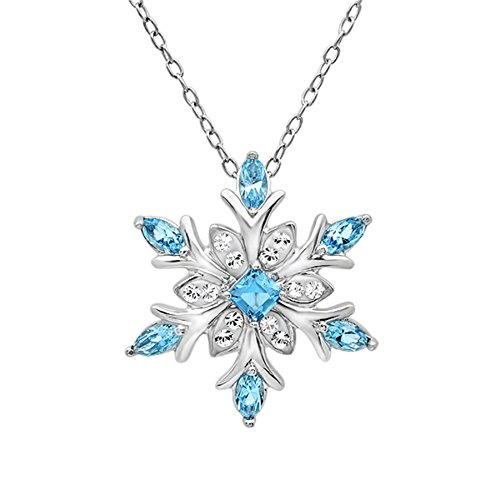 Amanda Rose Collection Sterling Silver Snowflake Pendant-Necklace Made with Swarovski Crystals (Blue and White)
