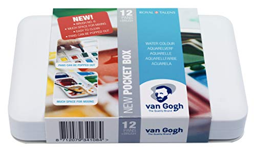 Van Gogh Watercolor Paint Set, Plastic Pocketbox, 12-Half Pan General Selection ()