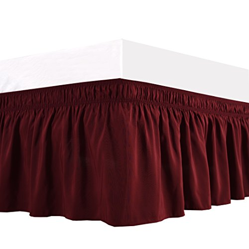 Biscaynebay Wrap Around Bed Skirt, Elastic Dust Ruffles, Easy Fit Wrinkle and Fade Resistant Solid Color Hotel Quality Fabric, Twin and Full, 15 Drop, Burgundy