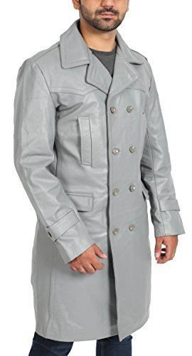 Mens Grey Double Breasted Trench Leather 3/4 Long Classic Reefer Overcoat - NEO (XX-Large)