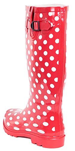 Rain Women Full Polka Rubber Full Boots Women Pink Dots OIdvpnd