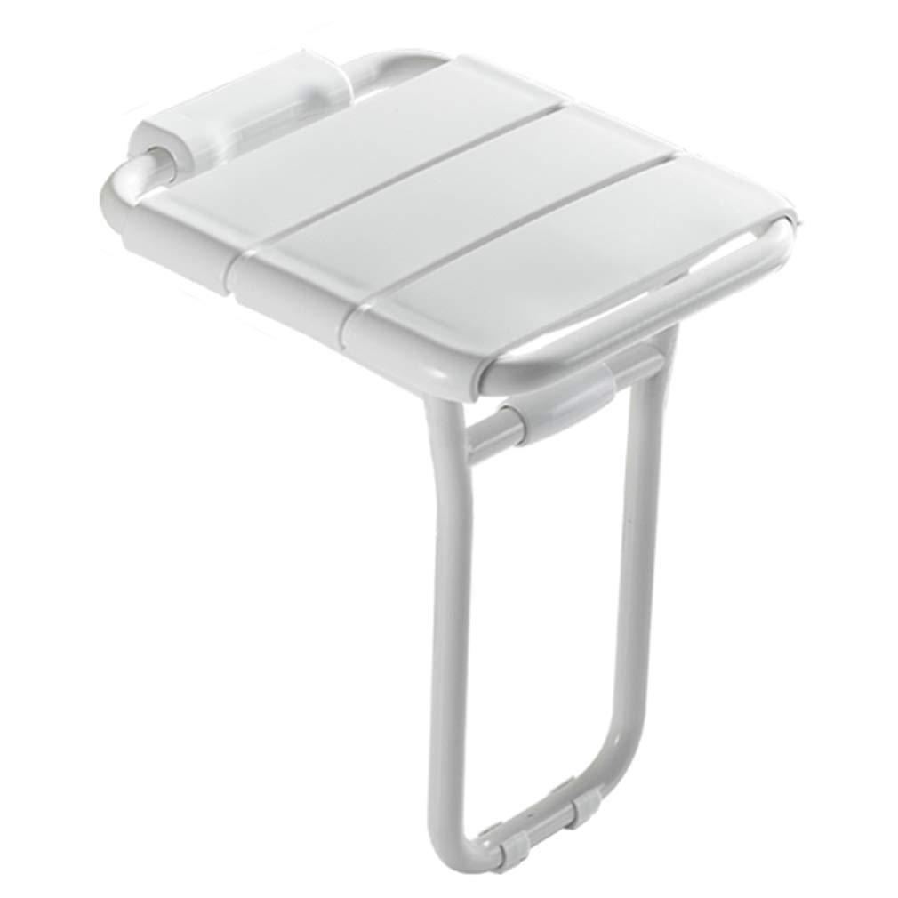 ZHAOHUI バスルームシャワースツール シャワーチェアバスシート ウォールマウント防水ノンスリップ90°折りたたみアークデザインベアリング200KG ホワイトイエロー、36x40.7x48cm (色 : 白) B07JHMZMC7  白