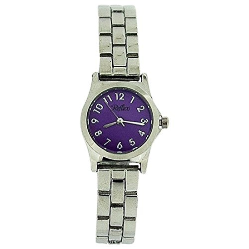 Reflex Ladies Analogue Purple Dial Silver Tone Metal Bracelet Strap Watch LB102