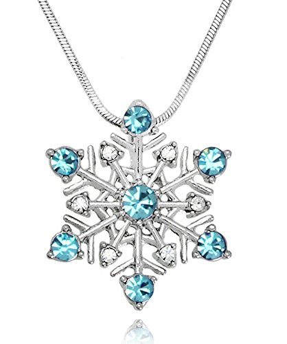 Mother Daughter Frozen Costumes (Small Aqua Blue Snowflake Crystal Pendant Necklace Winter Bridal Fashion Jewelry Christmas Holiday)