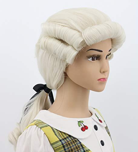 Yuehong Long Men's George Washington Cosplay Curly Gentleman Lawyer Wig Halloween Hair -