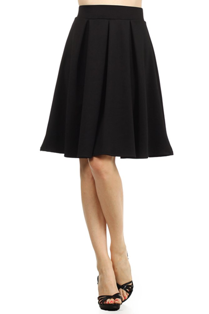 Modern Kiwi Emily Pleated Midi High Waisted Stretch Skirt Black Small